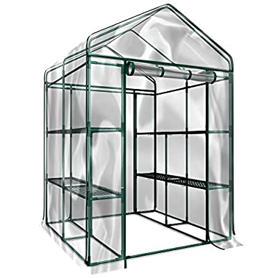 Home-Complete Walk-In Greenhouse- Indoor Outdoor with 8 Sturdy Shelves-Grow Plants, Seedlings, Herbs, or Flowers In Any Season-Gardening Rack by Home-Complete