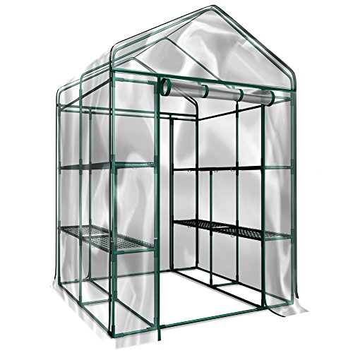 House Greenhouse - Plant Large Walk in Greenhouse with Clear Cover - 12 Shelves Stands 3 Tiers Racks - Herb and Flower Garden Green House