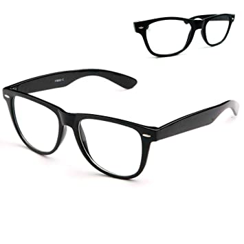 39b3d1dd85 Image Unavailable. Image not available for. Color  Black Nerdy Geek Old  School Clear Lens Horn Rim Eye Glasses ...