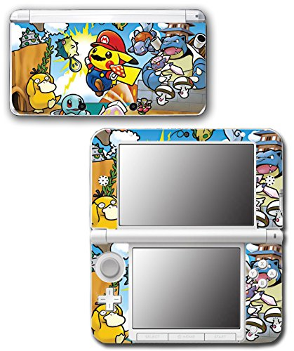 Pokemon Go Pikachu New Super Mario Bros Squirtle Psyduck Video Game Vinyl Decal Skin Sticker Cover for Original Nintendo 3DS XL System