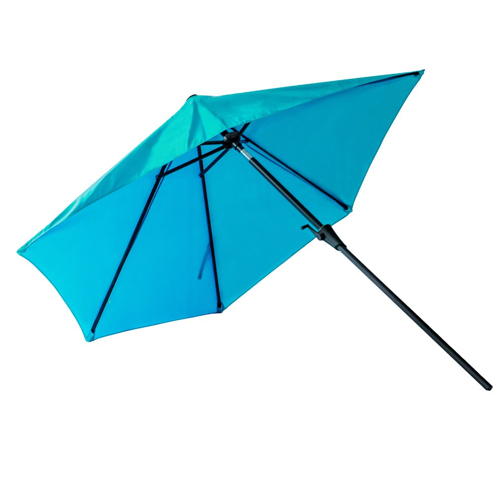 Beige FLAME/&SHADE 9 Solar LED Lighted Half Outdoor Market Umbrella with Solar Lights and Tilt for Patio Balcony or Deck Shade