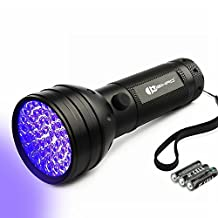 Juzihao 51 LED 395 nM UV Ultraviolet Blacklight Flashlight Light Torch, Spot Scorpions, Pet Urine, Counterfeit Money, Bed Bugs, Minerals, Leaks, 3 AA Batteries Included