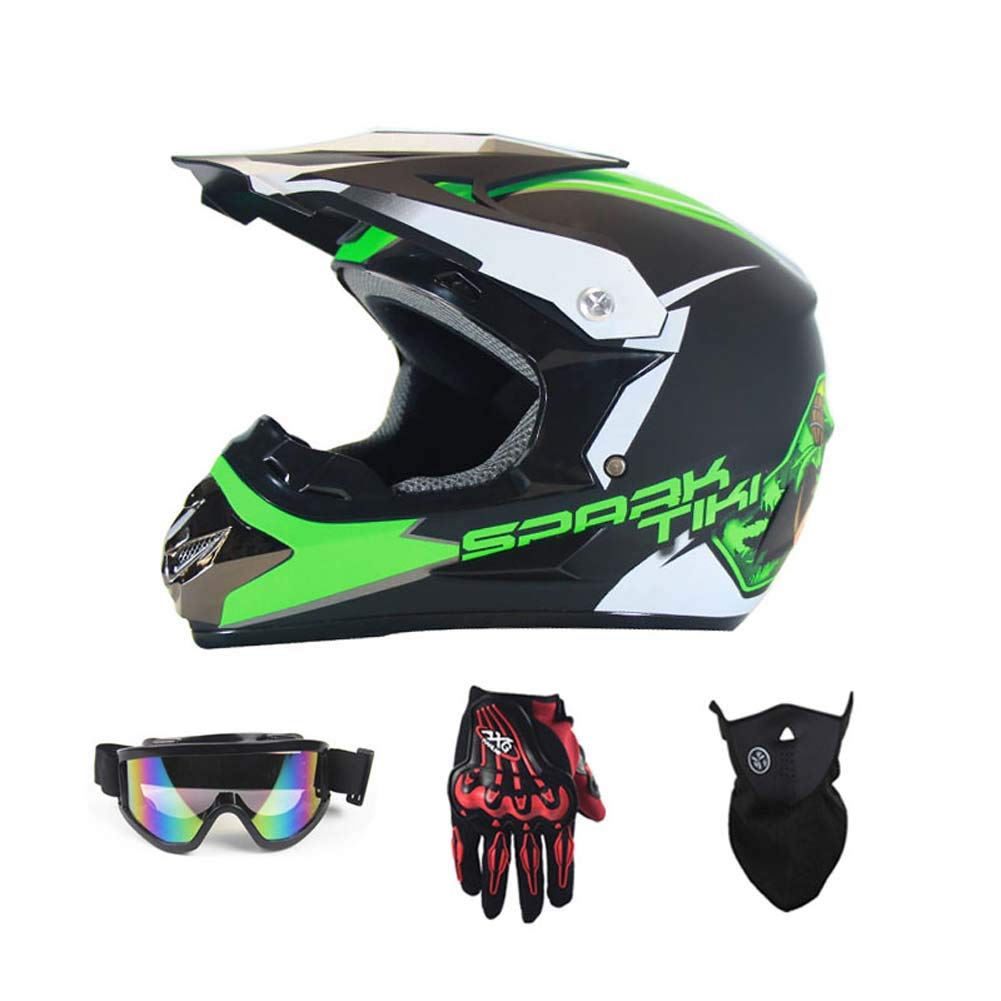 MRXUE Off-Road Anti-Collision Motorbike Helmet, Full Face Helmet Off-Road Anti-Collision Helmet Kit Adult Highway Helmet Give Goggles and Bicycle Gloves Dust Mask Star,C,L(57~58Cm)