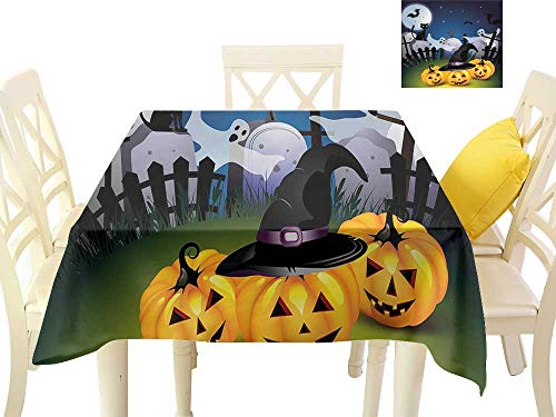 W Machine Sky Wrinkle Resistant Tablecloth Halloween Funny Cartoon Design with Pumpkins Witches Hat Ghosts Graveyard Full Moon Cat W50 xL50 Suitable for Buffet Table, Parties, Wedding ()