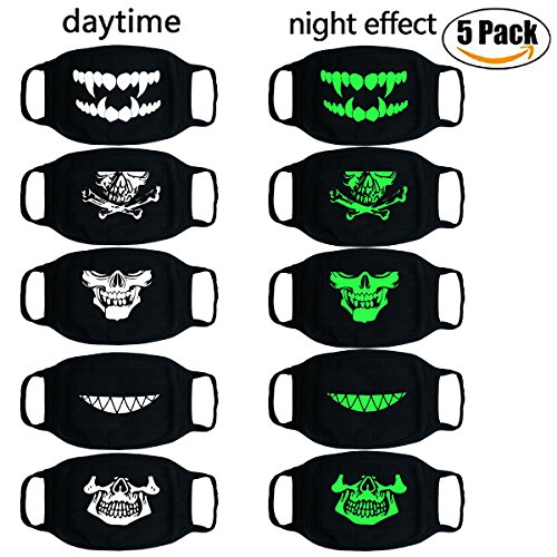 Best Hick Costume (Halloween Mask Party Cosplay Luminous Cotton Mouth Mask,ASHMITA 5 Packs Antidust Face Mask)