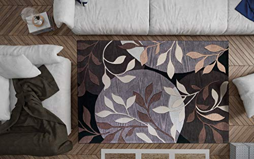 KAS Oriental Rugs Bali Collection Mosaic Area Rug, 5' x 8', Plum/Black