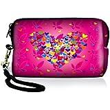 Luxburg® Design Universal Kameratasche Hülle Sleeve Case für kompakte Digitalkamera, Motiv: rosa Blumenherz