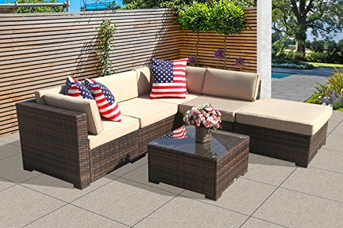 Super Patio Outdoor Conversation Sets, 6 Piece Outdoor PE Wicker Rattan Sectional Furniture Set with Beige Seat and Back Cushions, Steel Frame,Brown Back Sofa Cushion 6 Piece