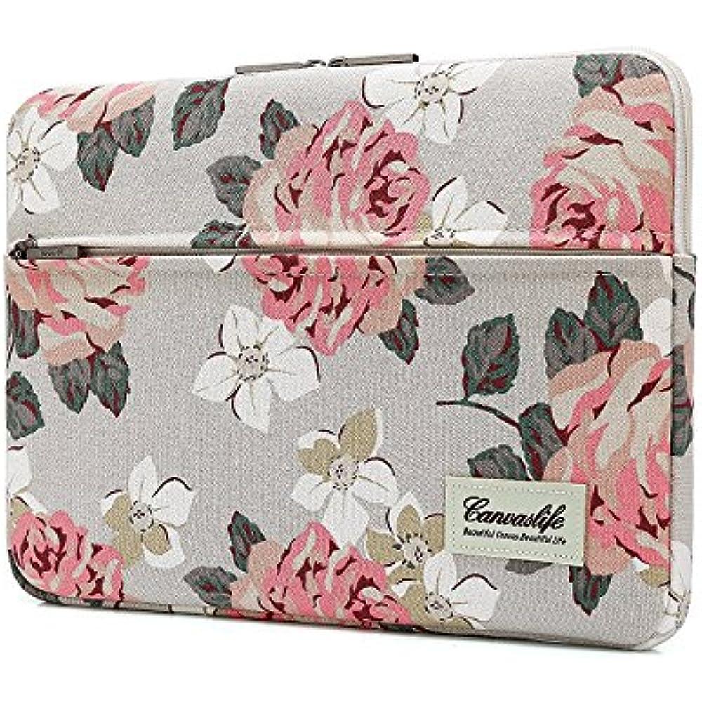 Canvaslife White Rose Patten Laptop Sleeve 14 Inch 14.0 Inch Laptop Case Bag