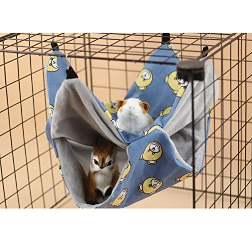 Stock Show Small Animals Hanging Bed Pet Double Bunkbed Cotton and Fleece Soft Sleepy Pad Hammock for Mouse, Chinchilla, Rat, Squirrel, Gerbil and Dwarf Hamster, Baby Guinea Pig