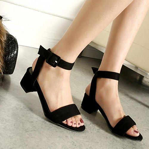 TAOFFEN Mujer Moda Tacon Ancho Punta Abierta Talon Abierto Sandalias Tacon Medio Zapatos para Mujeres Negro