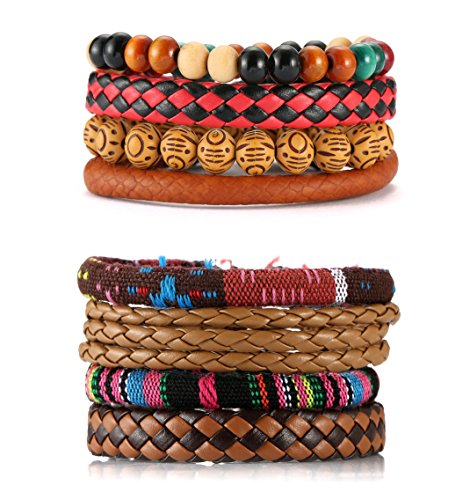 EVELICAL 8Pcs Leather Bracelets for Men Women Wooden Beaded Bracelets Braided Wrist Cuff Elastic Brown
