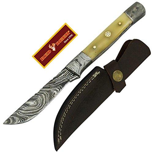 Red Deer Fine Damascus Gooser Knife Animal Bone Full Tang (Knife With Deer Design)