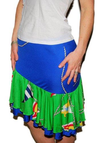 Ralph Lauren Polo Womens Nautical Sailing Silk Skirt Blue Green USA Medium