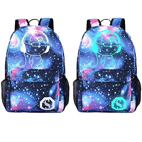 School Backpack Cool Luminous School Bag for Boys Girls Teens Large Galaxy Laptop Bag (Music Boy) by BWOLF (Image #5)