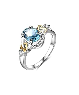 Daesar Silver Plated Wedding Band for Women Knot Heart Blue Shining Cubic Zirconia Size 6