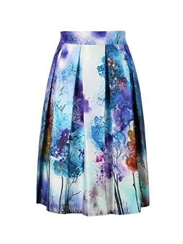 Choies Women's Blue Abstract Print Ruffle Midi Skirt Blue Abstract Print