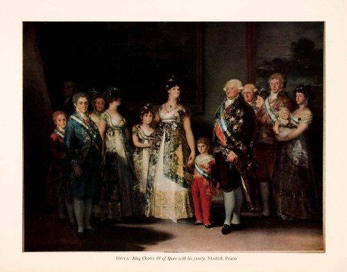 1957-tipped-in-print-carlos-king-charles-iv-of-spain-family-oil-painting-goya-orig-tipped-in-print