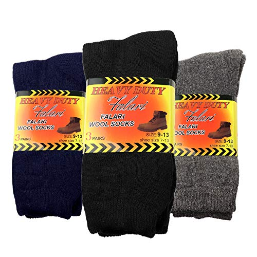 (Falari 6-Pack Men's Heavy Duty Work Thermal Wool Socks Keep Warm for Cold Weather (Assorted))