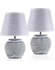 BRUBAKER Set van 2 tafel- of bedlampjes - 30,5 cm - grijs - keramische lampvoeten - linnen paraplu's lichtgrijs
