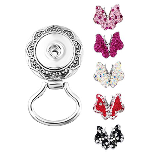 Souarts Interchangeable Eyeglass Holding Snaps Magnetic Brooch with 5pcs Rhinestone Butterfly - Butterfly Eyeglasses