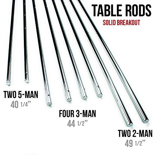 Set of 8 Quality Replacement Standard 5/8 Inch Solid Steel Foosball Rods - Includes Bonus Foosball Player! by CSG