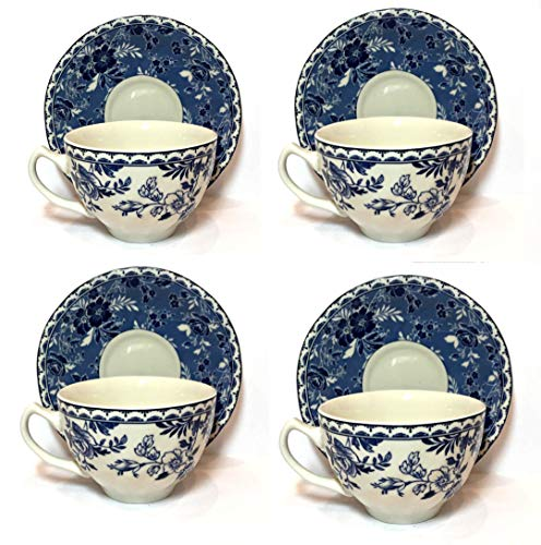 Johnson Bros. Brothers, England, Devon Cottage Cup and Saucer Set (4 SETS) | Fine Dinnerware