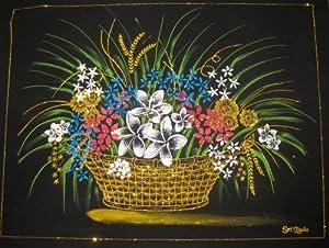 Amazoncom Sri Lankan Flower Basket Velvet Fabric Glitter Art