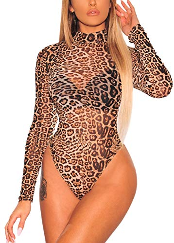 GLUDEAR Women Sexy Leopard Print Sheer Mesh Long Sleeves Bodysuit Clubwear,Brown,L