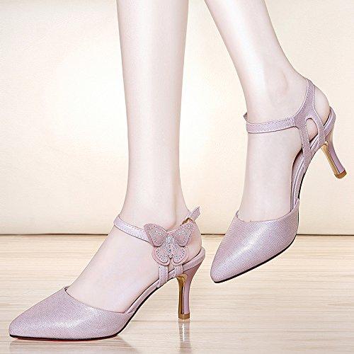 HUAIHAIZ Tacones de mujer Los zapatos de tacón alto o sandalias o zapatos de noche Pink