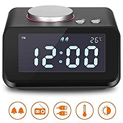 "Hetyre Digital Alarm Clock with 3.2""LED Display FM Radio AUX-IN Speaker Indoor Thermometer 2 USB Charger Port Snooze and Dual Alarm for Bedroom (Black)"