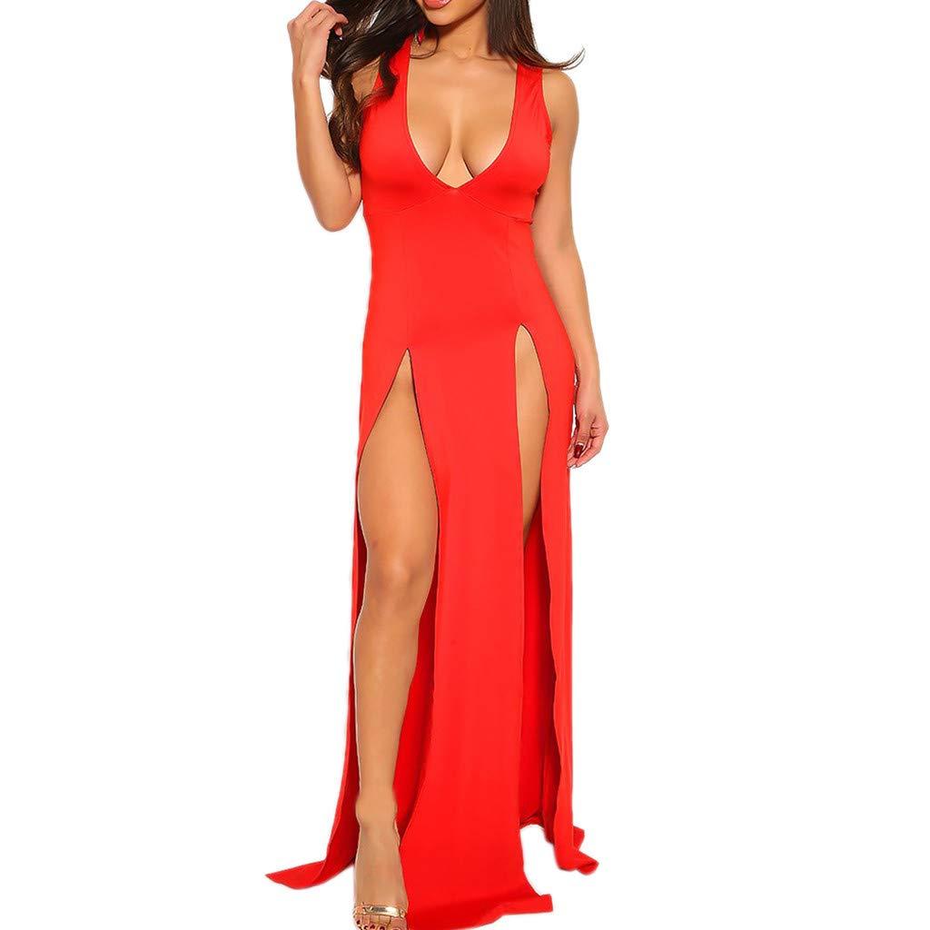 Women Sexy Split Maxi Dress Club Outfits Dress Chiffon Strap Deep V Neck Bra Crop Top High Split Long Dresses Skirt Set Red by Giulot