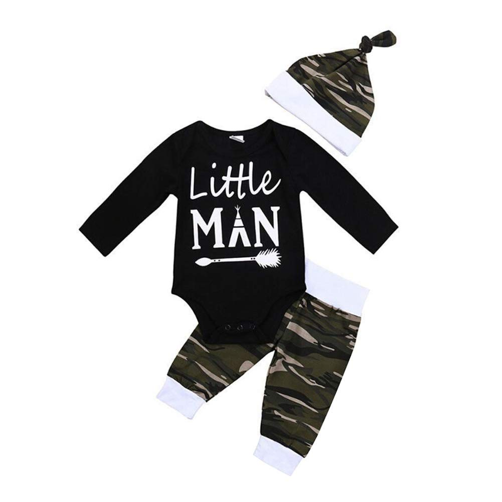 Shiningbaby Baby Little Man Printed Strampler und Camouflage Hose Hut Baby Boy 3 Stück Outfit