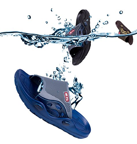 Happy Lily Slip-on Slippers Non-slip Shower Sandals Beach Mule Open Toe Pool Shoes Bathroom Slide for Adult Black D9reykR9