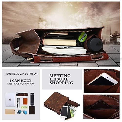c7c30fbe80c Leathario Leather Shoulder Bag Men s Retro Leather Messenger Bag Crossbody  Bag Satchel Bag Ipad Bag 11
