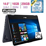 2018 ASUS VivoBook Flip 14-inch 2-in-1 Full HD (1920x1080) Touchscreen Laptop, Intel Core i7-7500U 2.7 GHz, 16GB DDR4 RAM, 256GB SSD, Bluetooth 4.1, Backlit Keyboard, Windows 10
