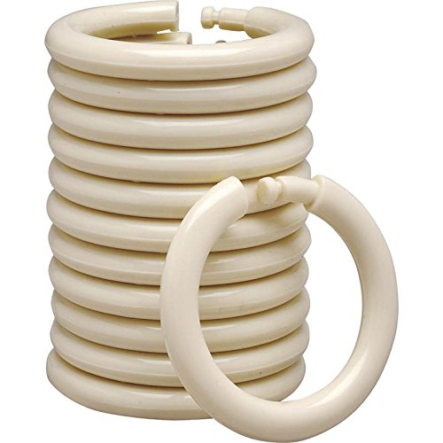 Rocky Mountain Goods Plastic Curtain Rings - 12 Pack - Click securely in place - Unbreakable plastic with - True O ring design - Slides easily without screeching like metal (Beige)