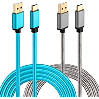 Galaxy S8 Charger, HI-CABLE USB C Cable Braided 10Ft 2-Pack Fast Charger for Samsung Galaxy Note 8/S8 Plus, Moto Z/Z2 Play, LG G6/G5/V20, Google Pixel XL, Nintendo Switch and More (Grey, Blue)
