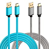 Galaxy S9/S8 Charger, HI-CABLE USB Type C Cable 2-Pack 10Ft Braided Long Cord USB C to USB Fast Charging Cable for Samsung Galaxy S9/S8 Plus, LG V30/V20/G6, Google Pixel/2, Moto Z/Z2 Play (Grey/Blue)