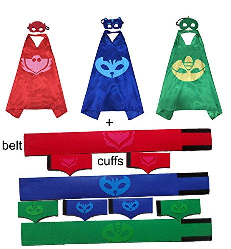 [3 packs Halloween Cosplay Costume Cape & Mask + 3 Sets Belt and Cuff Powerband] (Pj Mask Costume)
