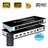 HDMI 4x2 Matrix Switch, 4K x 2K Ultra HD, with Optical & L/R Audio Extractor, Support 1080P 3D with IR Remote for Home Theater/HDTV/DVD/PS3/PS4/ST/Bluray Player etc