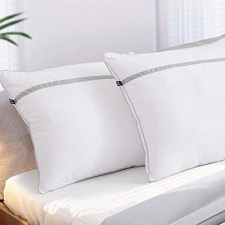 BedStory Nouvelle Version Oreillers Lot de 2 60x60, Oreiller Medium 60x60 avec Garnissage 3D Fibre Polyester, Glonfants et Garde la Forme, Oreiller