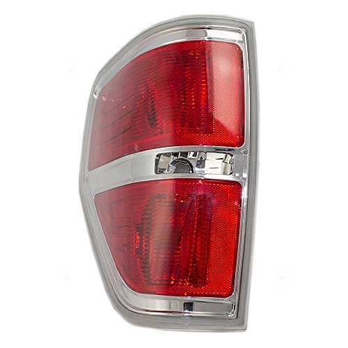 Pickup Tail Light Chrome Trim (Drivers Taillight Tail Lamp with Chrome Trim Replacement for Ford Pickup Truck AL3Z13405A)