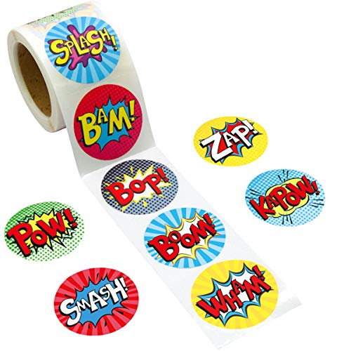 Fancy Land Superhero Perforated Roll Stickers 200Pcs for Kids Birthday Party Supplies School Awards Sticker -