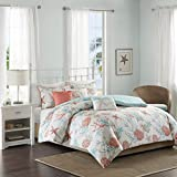 Madison Park - Pebble Beach 6 Piece Cotton Duvet Cover Set - Coral - Full/ Queen - Coastal Theme - Includes 1 Duvet Cover, 3 Decorative Pillows, 2 Shams