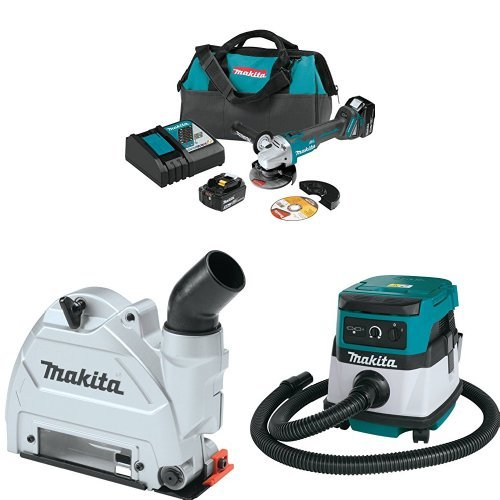 Makita XAG04T 18V LXT Brushless 4-1/2-Inch - 5-Inch Cut-Off/Angle Grinder Kit, 196846-1 Dust Extraction Tuck Point Guard, XCV04Z 18V X2 LXT (36V) 2.1 Gallon HEPA Filter Dry Dust Extractor/Vacuum