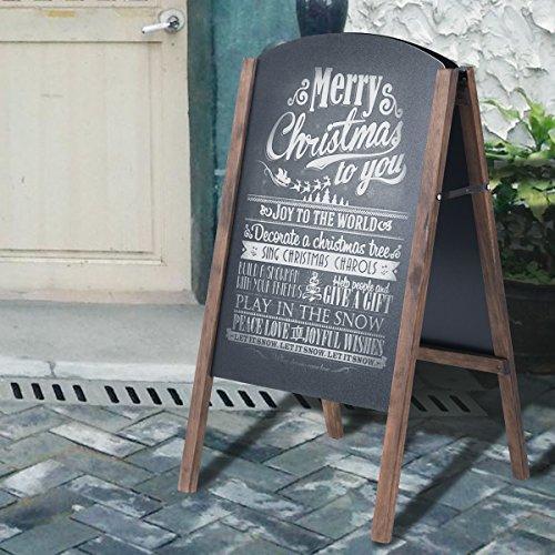 Standing Chalkboard (Tangkula A-Frame Chalkboard Rustic Wooden Double-Sided Standing Sidewalk Chalkboard Sign Sandwich Board (S))