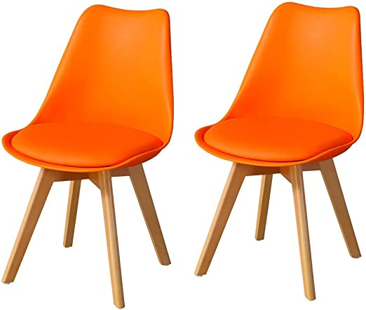 TUKAILAI 2PCS Orange Retro Tulip Style Dining Chairs with Solid Wood Legs  and Faux Leather Covered Padded Seat Lounge Chairs Kitchen Chairs Living ...