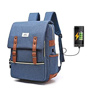 gracosy Vintage Canvas Business Laptop Backpack with USB Charging Port, Lightweight Unique Travelling Backpack Casual School College Bag Rucksack for Women and Men