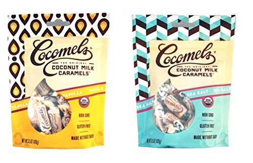 - Cocomels Coconut Milk Caramels - Organic, Kosher, NON-GMO, Vegan - Made Without Dairy - Vanilla and Sea Salt - 2 Pack